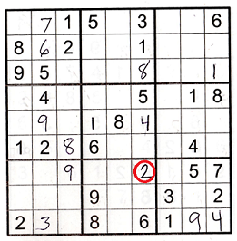 Sudoku grid showing easy puzzle challenge