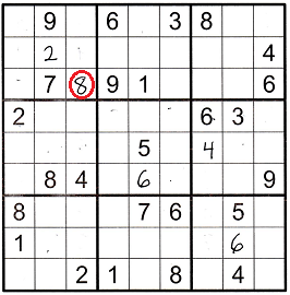 sudoku grid partially filled with the 8 in r3c3 circled in red