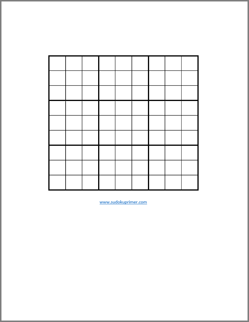 photograph relating to Blank Sudoku Grid Printable named Sudoku Primer Comprehensive Reference
