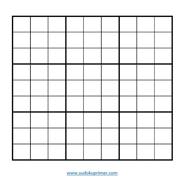 Blank sudoku grid in jpeg format