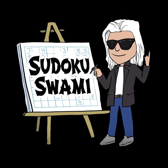Sudoku Swami's image showing him in front of his easel teaching