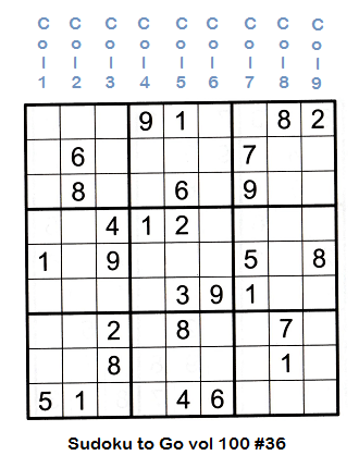 Sudoku grid partially filled showing each column and column numbering