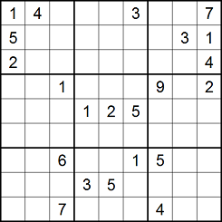 Sudoku grid partially filled, with an L pattern in boxes 1 and 3