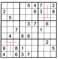 Sudoku puzzle partially filled with T patterns in box 3 and box 7