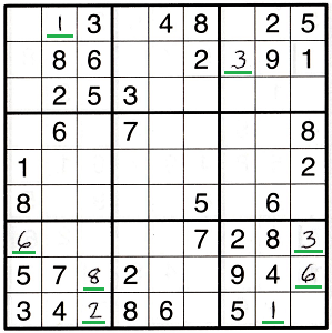 Sudoku grid with solved numbers underlined in green to show numbers found by corner pattern