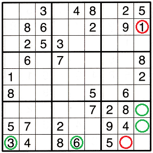 Sudoku grid with green and red circles to highlight specific cells