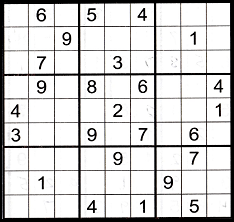 Sudoku grid partially filled to show an example of the gate pattern