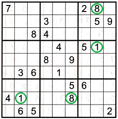 Sudoku grid showing numbers usable when the opposite pattern is found