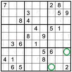 Sudoku grid with numbers showing how to use the opposite pattern once it is found