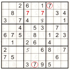 partially completed sudoku puzzle - boxes 2, 3 and 8 show where 7s can go