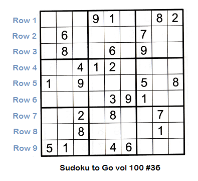 Sudoku grid partially filled showing each row and the row numbering