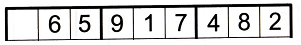 A single row of a sudoku grid with only one number missing