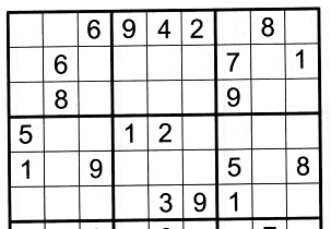 sudoku grid with four numbers missing in row 1 to illustrate solving the entire row (see the text below the image for how to find the four numbers)