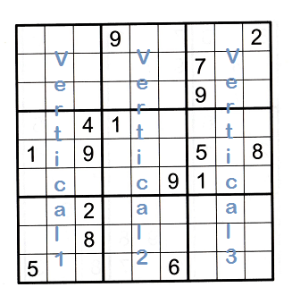 Sudoku grid partially filled showing how vertical sections are numbered